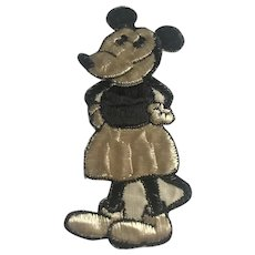 """A Rare vintage Tobacco Cigarette Embroidery silk rare Minnie Mouse No C 2 issued in Holland circa 1930 51/2"""" x 21/4"""" inserted in cigar boxes and cigarette packs"""