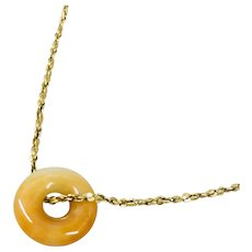 Fabulous Vintage 14k Yellow Gold Necklace with Red Jade Pendant