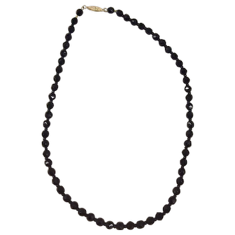 Vintage Black Glass Bead Necklace with 14k Yellow Gold Clasp