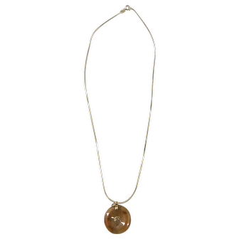 """Vintage Italian 18k Yellow Gold Quality 18"""" Necklace with Red Jade & 14K Disk Pendant"""