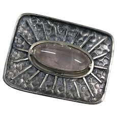 Fabulous Modernist Brutalist Brooch 835 Silver w/ Pale Purple Center Stone