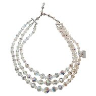 "Fabulous Vintage 3 Strand ""Stephanie"" Austrian Clear Aurora Borealis Necklace Original Tags"