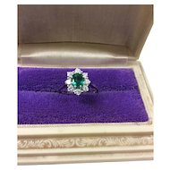 Vintage 18k White Gold Natural Emerald With 8 Diamond Halo Ring