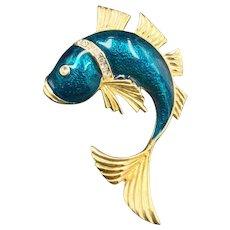 New Swarovski Tropical Fish Brooch Crystal Deep Blue Pin