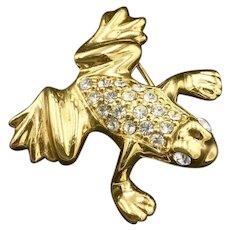 New Swarovski Frog Brooch Crystal Pin