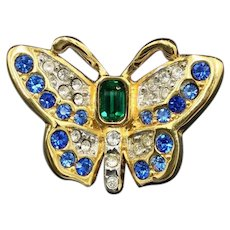 Swarovski Blue Green Butterfly Brooch Crystal Pin