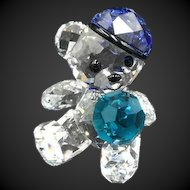 Swarovski Crystal Kris Bear Figurine, Let's Play Ball Baseball Player, New in Box