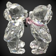 Swarovski Crystal Kris Bears Figurines, First Kiss Couple, Wedding Topper or Decoration