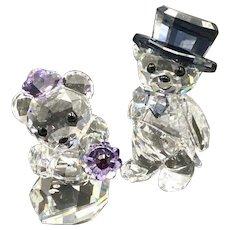 Swarovski Crystal Kris Bear Figurine, Wedding You and I, Groom and Bride, New in Box