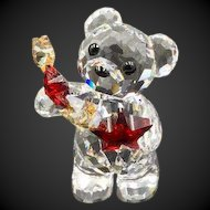Swarovski Crystal Kris Bear Figurine, Holding Red and Gold Stars, New in box