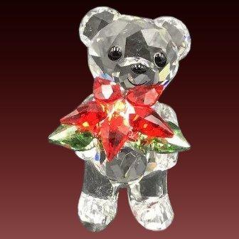 NEW Swarovski Poinsettia Flower Christmas Kris Bear Figurine