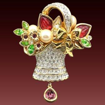 New Swarovski Flower Basket Garden Crystal and Pearl Brooch Pin Rare