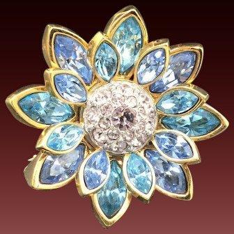 New Swarovski Blue Flower Brooch Pin Vintage