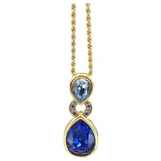 Swarovski Crystal Blue Vintage Necklace, Teardrop Pendant on Gold Tone Chain, New with Tag, Valentine Gift
