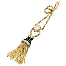 Swarovski Crystal Tassel Necklace, Gold Tone Vintage with Black Enamel, New with Tag, Valentine Gift