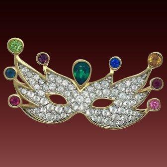 New Swarovski Mardi Gras Mask Crystal Brooch Pin Swan logo Jewelry