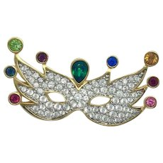 New With Tag Swarovski New Orleans Mardi Gras Mask Brooch Crystal Pin Unique Gift for Wife, Fiancee, Friend