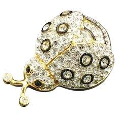 Swarovski Crystal Ladybug Brooch, Jewelry Black Enamel Pin, New with Tag, Valentine Gift