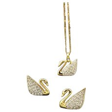 Swarovski Crystal Swan Jewelry Set, New Necklace and Vintage Earrings, Valentine, Anniversary or Engagement Gift