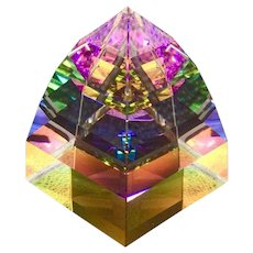 Swarovski Crystal Pyramid Paperweight, Vintage Vitrail Rainbow Small Size, Office or Home Decor