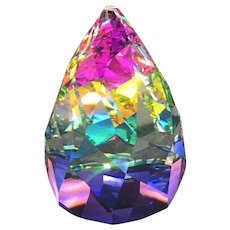 Swarovski Crystal Cone Rio Paperweight, Vintage Vitrail Rainbow Figurine, Office or Home Decor