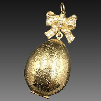 Swarovski Egg Shaped Gold Tone Locket Pendant with Swirl Designs Vintage Unique Gift
