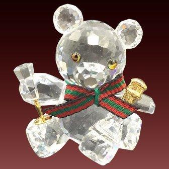 Swarovski Kris Bear Crystal Celebration figurine with champagne bottle and glass