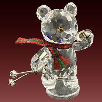Swarovski Crystal Bear with Skis and Poles Kris Figurine, Retired