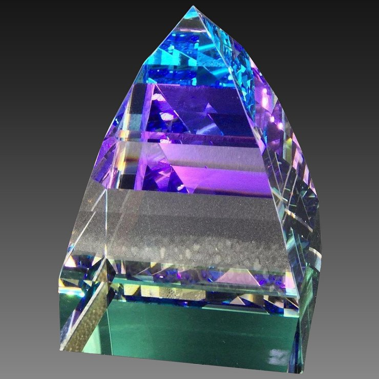 Swarovski Crystal Pyramid Paperweight, Large Rare Blue Helio, Office   The  Swarovski   Jewelry Collectors   Ruby Lane 25d092950e