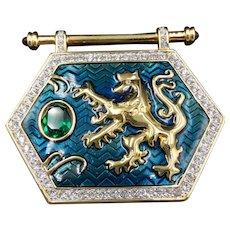 Swarovski Crystal Royal Lion Brooch, Rare Emblem Shield Pin, Art Nouveau Jewelry, Unique Valentine Gift
