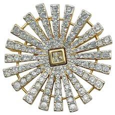 Swarovski Crystal Sunburst Pavé Brooch, Vintage Art Deco Style Pin, Sun Ray Motif, Unique Valentine Gift