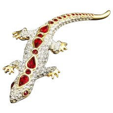Rare Swarovski Art Nouveau Lizard Gecko Crystal Brooch Pin Ruby Gold Tone Vintage. Unique Gift for Wife, Friend, Animal lover