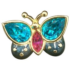 New Swarovski Butterfly Crystal Blue and Pink Brooch Pin