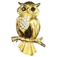 New Swarovski Owl Bird Brooch Crystal Pin