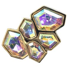New With Tag Swarovski AB Artistic Design Savvy Crystal Brooch Jewelry Pin. Unique Gift for Wife, Fiancee, Friend