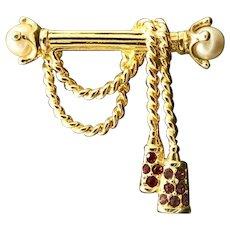 Swarovski Crystal Tassels Brooch, Edwardian Style Imitation Pearls Pin, New with Tag, Valentine Gift