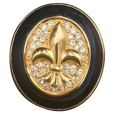 Swarovski Crystal Brooch Jewelry, Fleur De Lis Lily French Motif, Gold Tone Enamel Pin, Valentine Gift
