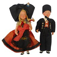 Vintage german pair costume celluloid dolls