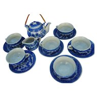 Vintage Child ´s Toy Play Set blue white  Tea Service   6 Places 15 Pieces
