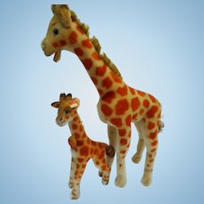 Vintage German small and large Sized Mohair STEIFF 2 Giraffe