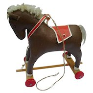 Vintage 50´s-60´s German Pull Toy Horse on Wheels for your old Doll