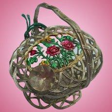 Antique German Dollhouse miniature metal Basket