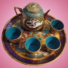 Vintage miniature Dollhouse Enamel Work Coffee or Tea Set with Tray