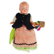 Vintage German Costume Celluloid Egg Warmer Doll 4""