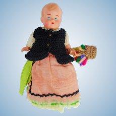 "Vintage German Costume Celluloid Egg Warmer Doll 4"""