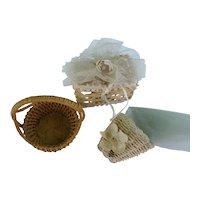 Vintage 1930´s German Miniature Dollhouse 3 Basket two with tulle flower