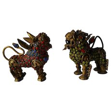 Vintage Asian Coral and Emerald Encrusted Foo Dog or Temple Lion