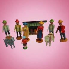 Antique German Erzgebirge wooden Putz Toy People Animal House