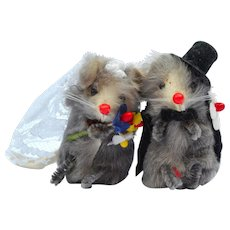 Vintage 1950´s German Miniature rare Toy Putz Fur Wedding Mice