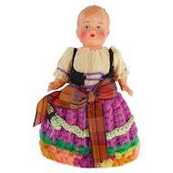 "Vintage German Costume Celluloid Egg Warmer Doll Mistergau 4"""